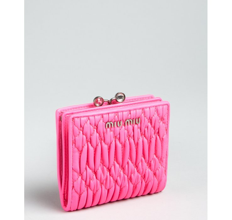 Miu Miu Neon Pink Matelasse Leather Snap Coin Wallet In