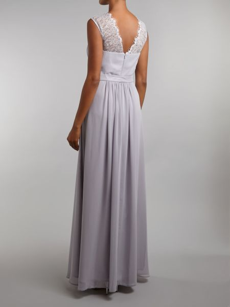 Ariella bridesmaid lace chiffon maxi dress in gray grey for Lace maxi wedding dress