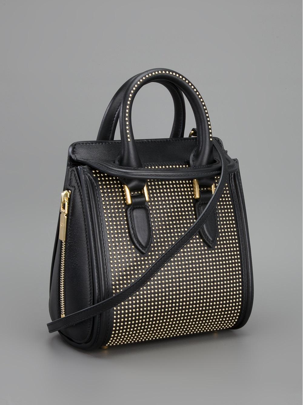 Lyst Alexander Mcqueen Studded Mini Heroine Handbag In Black