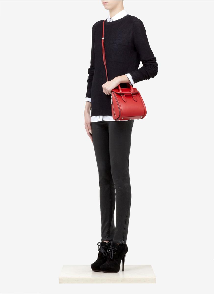 Lyst Alexander Mcqueen Heroine Mini Leather Satchel In Red