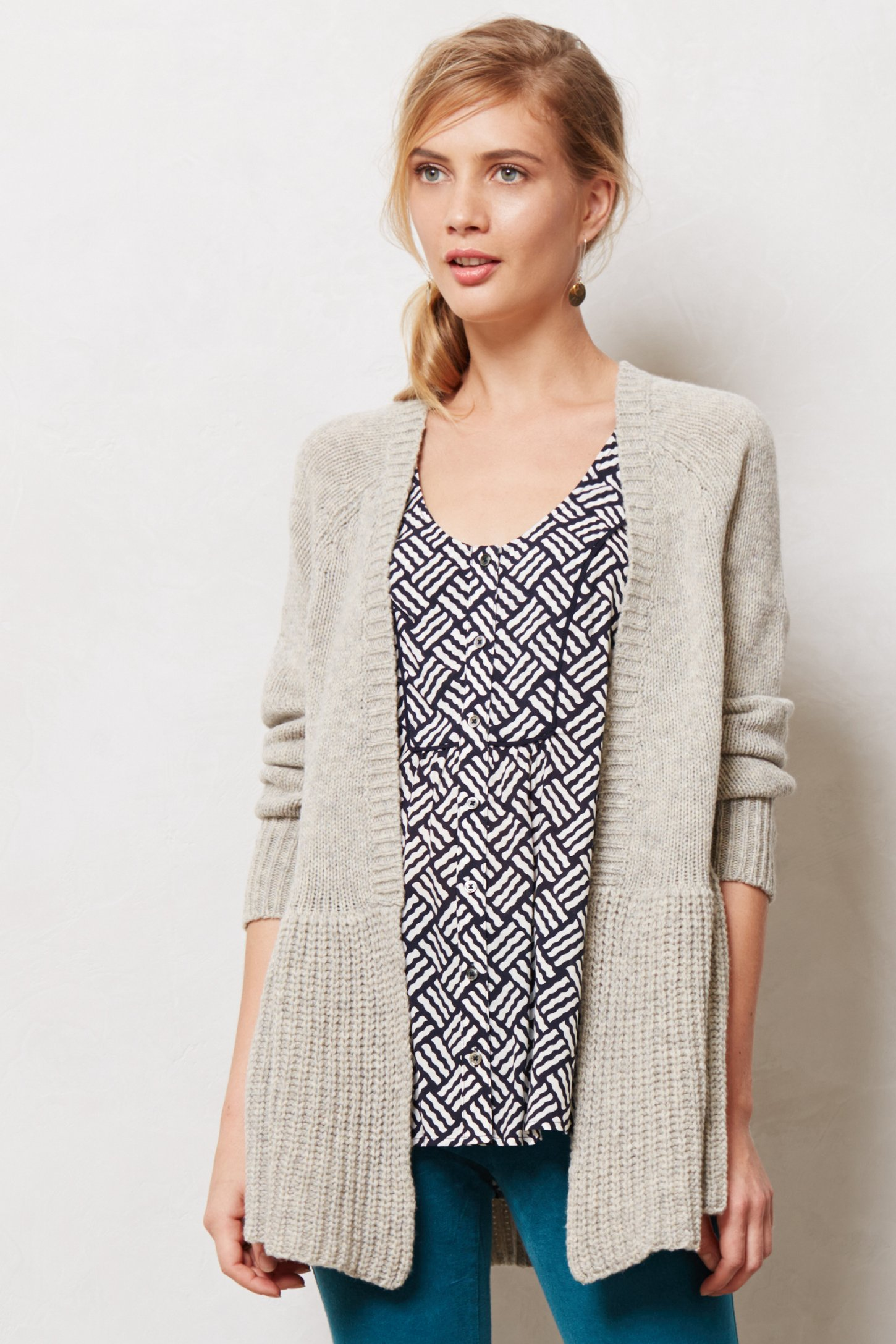 Knitted & knotted Stitchwise Swing Cardigan in Gray Lyst