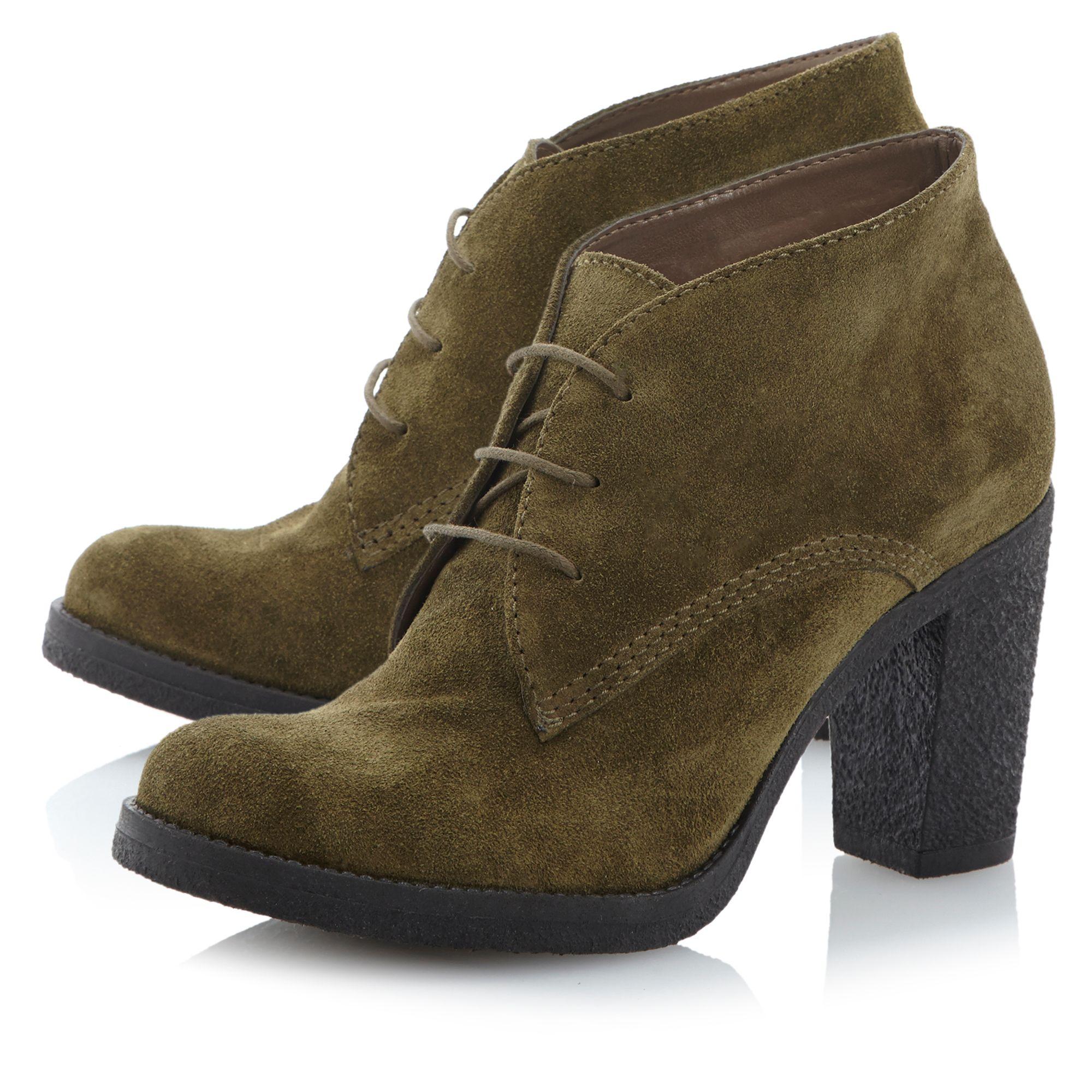 dune preem crepe heeled desert boots in green lyst