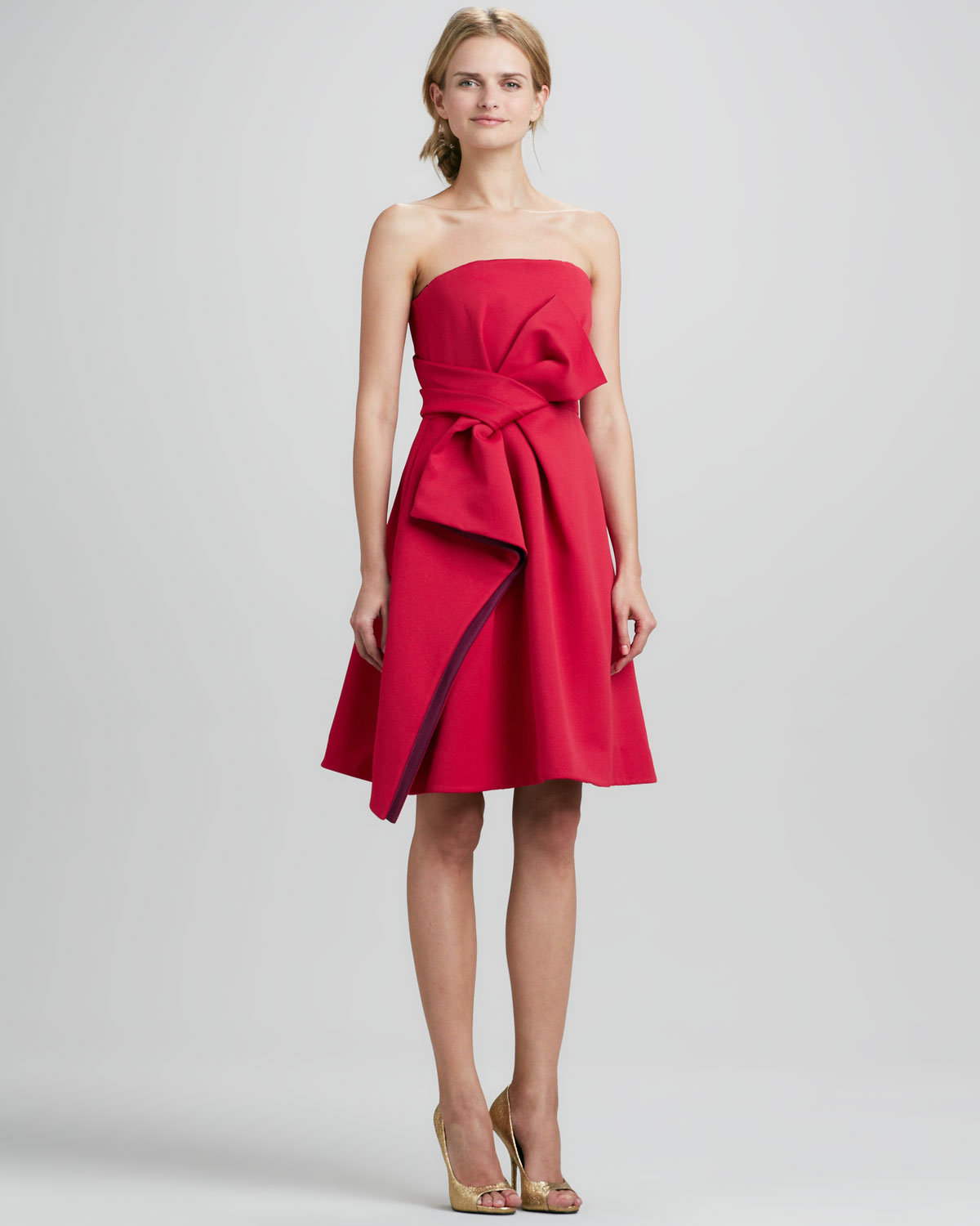 Halston Strapless Color Block Bow Dress in Red - Lyst