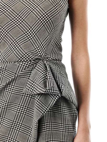 Lanvin Prince Of Wales Check Fitted Dress In Black Lyst