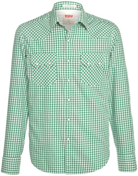 Levi 39 s sawtooth western gingham long sleeve shirt in green for Mens green gingham dress shirt