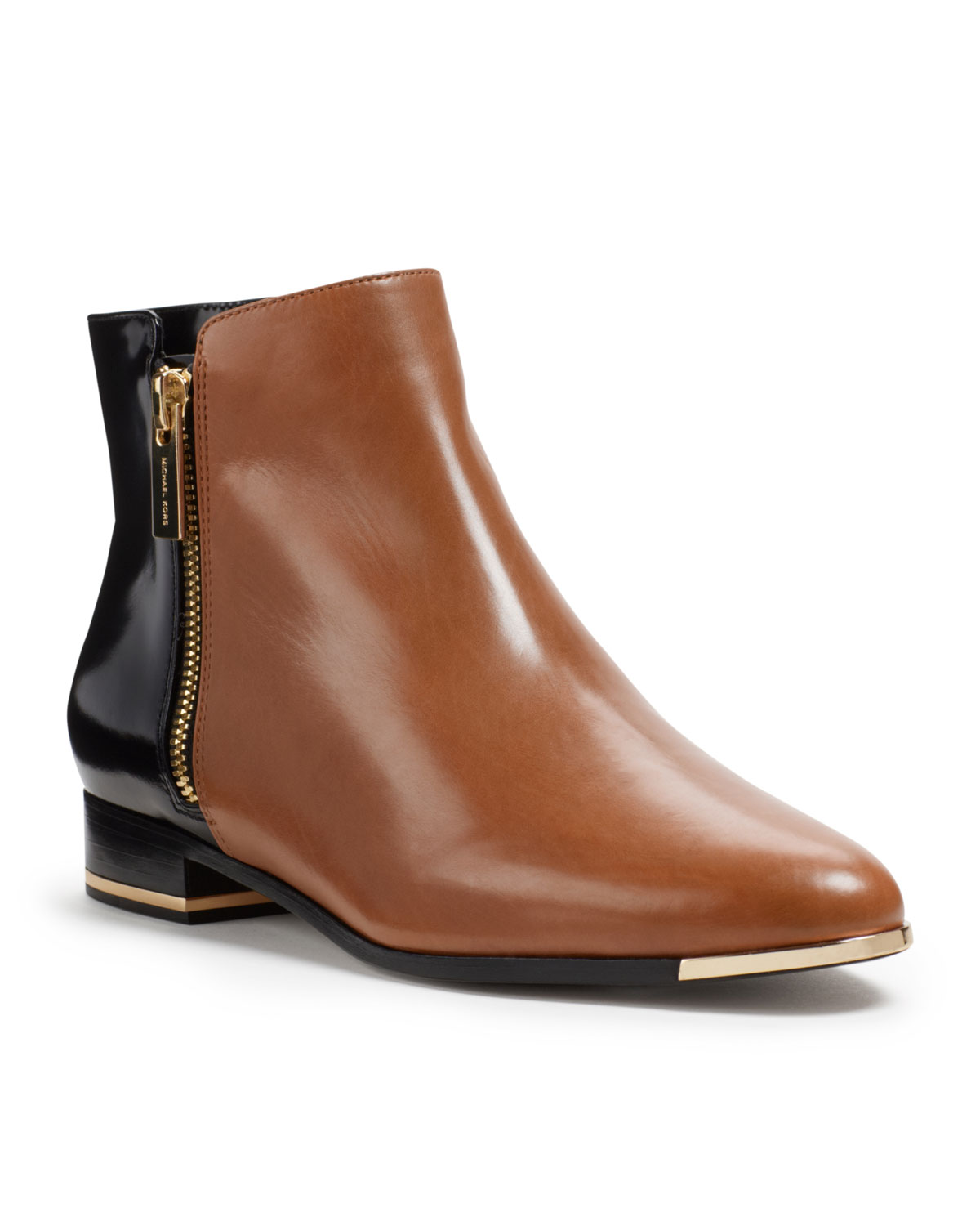 michael kors cindra twotone ankle boot in brown black lyst. Black Bedroom Furniture Sets. Home Design Ideas