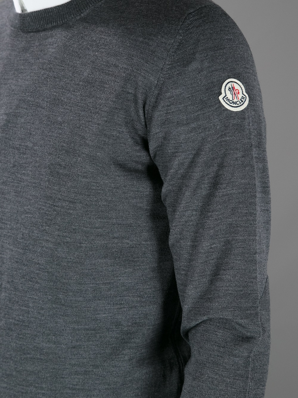 Moncler Branded Crew Neck Sweater in Grey (Grey) for Men