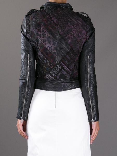 Muubaa Embroidered Back Biker Jacket In Black  Lyst