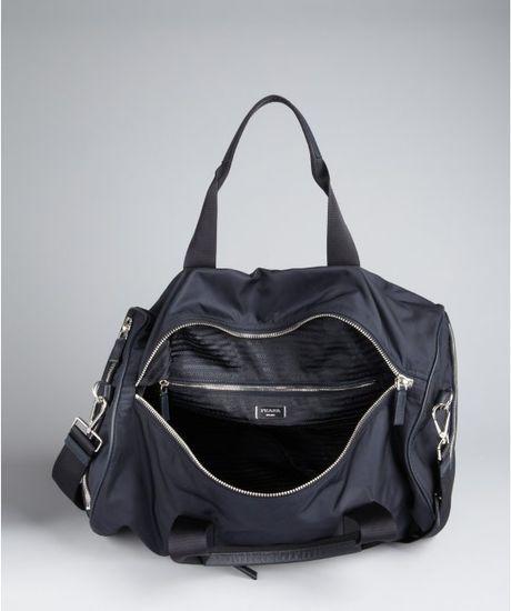 Prada Navy Nylon Convertible Duffel Bag In Blue For Men