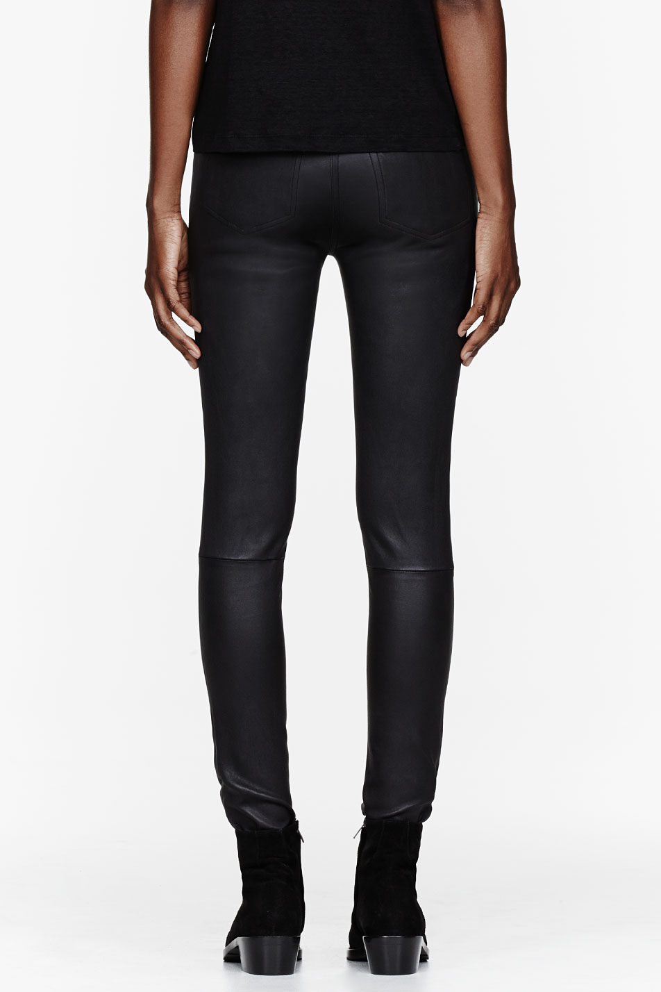 c932ae8a9b33 Lyst - T By Alexander Wang Black Stretch Leather Jeans in Black