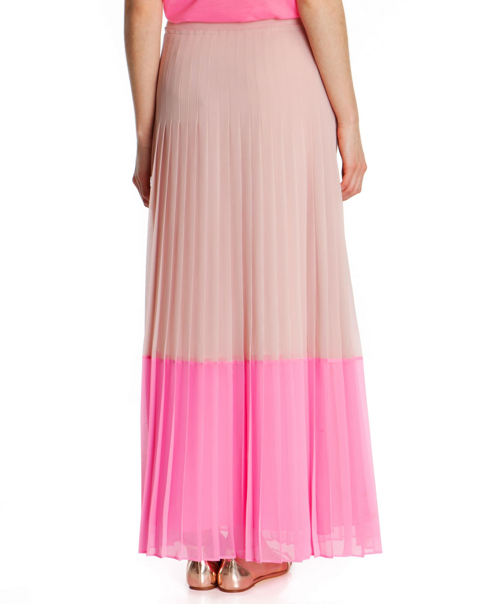 ted baker petrus colour block maxi skirt in pink lyst