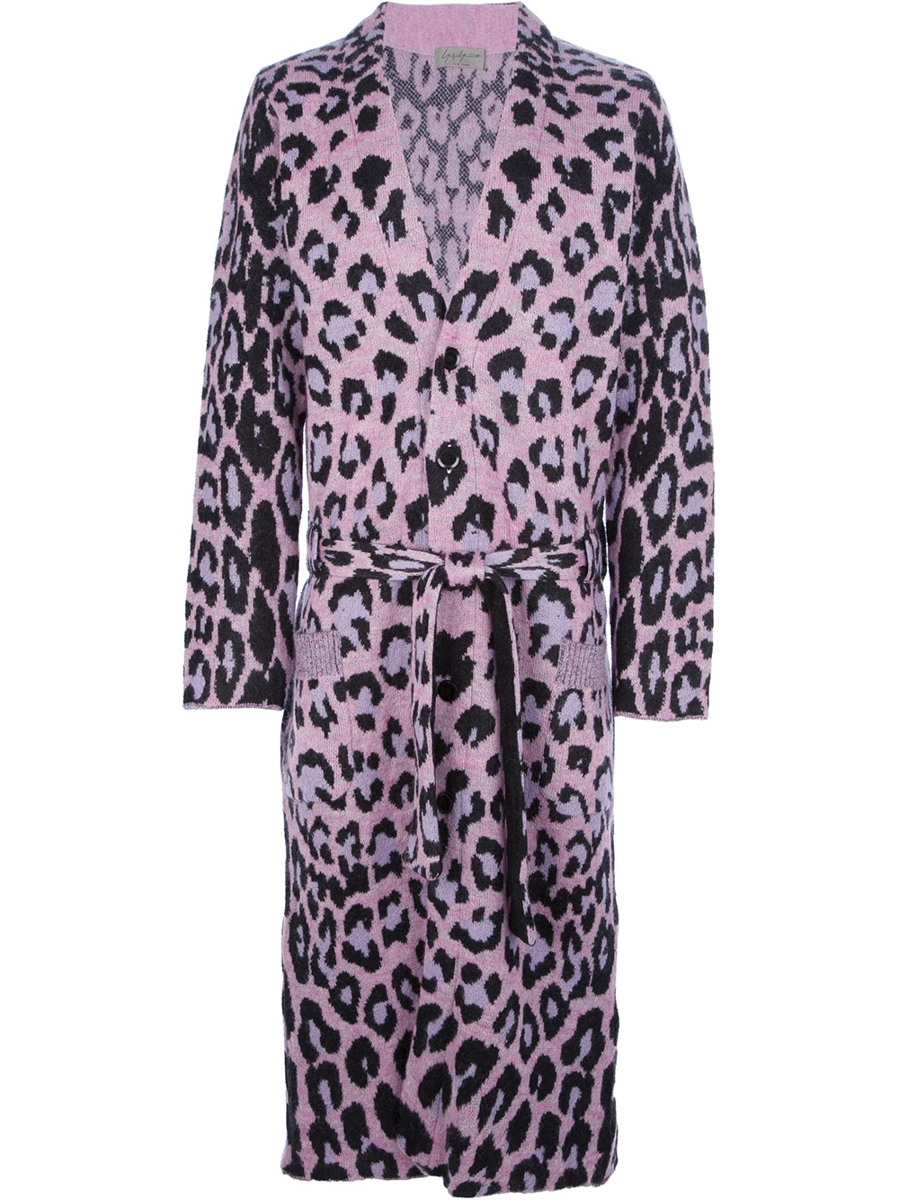 Yohji Yamamoto Leopard Print Long Cardigan In Purple For