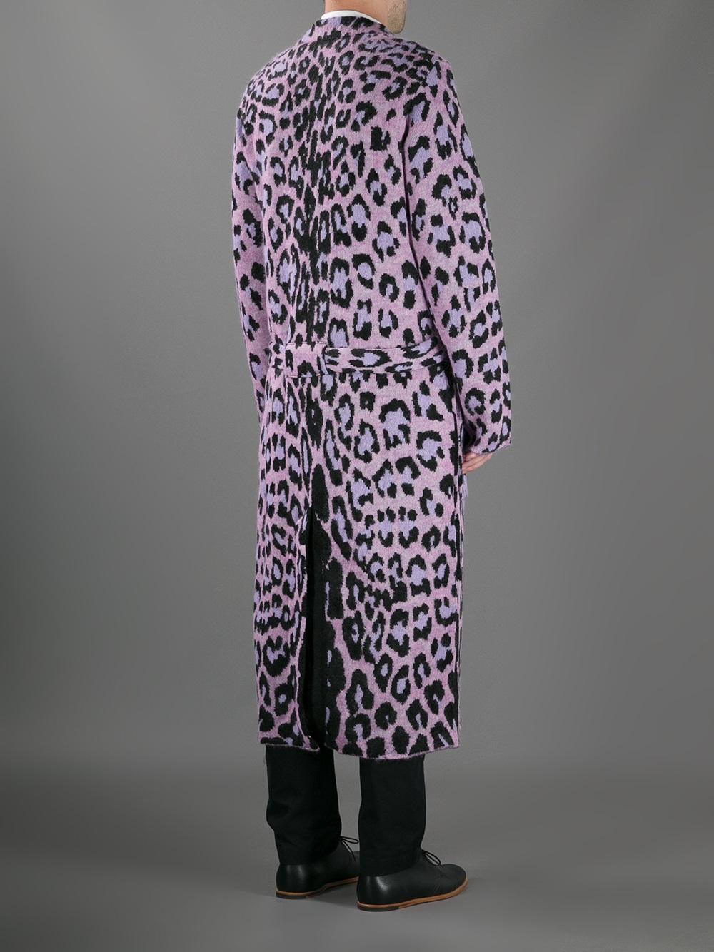 Yohji Yamamoto Leopard Print Long Cardigan In Purple For