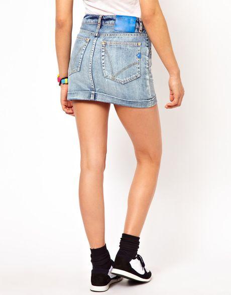 adidas denim mini skirt in blue denim lyst