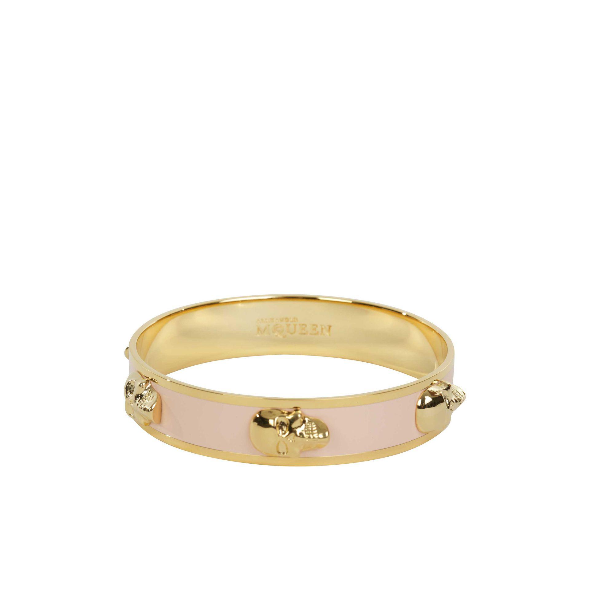 Alexander McQueen 3D Skull Enamel Bangle in Gold/Pink (Pink)