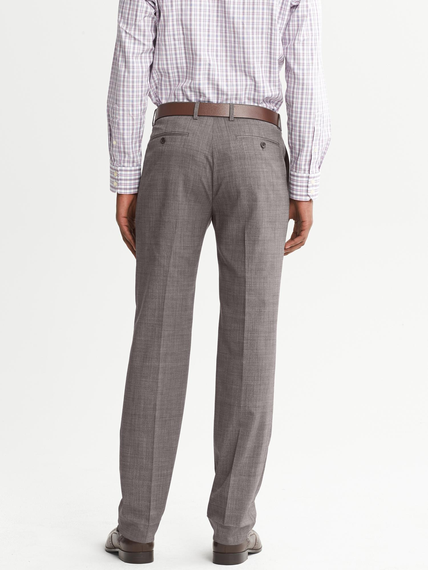 Banana Republic Tailored Slim Fit Taupe Wool Dress Pant In