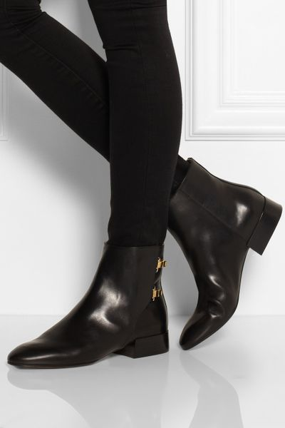 Chlo 233 Buckled Leather Ankle Boots In Black Lyst