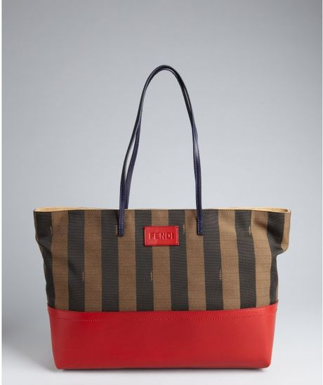 bdd15ad804de Fendi Brown and Red Stripe Canvas and Leather Tote Bag in Red (brown)