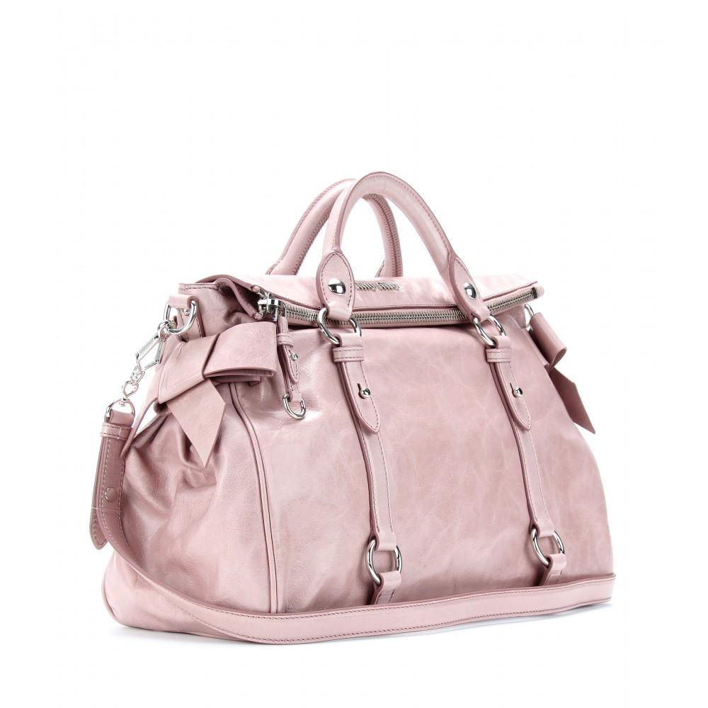 f902e6fc4999 Lyst - Miu Miu Bow Glazed Leather Tote in Pink