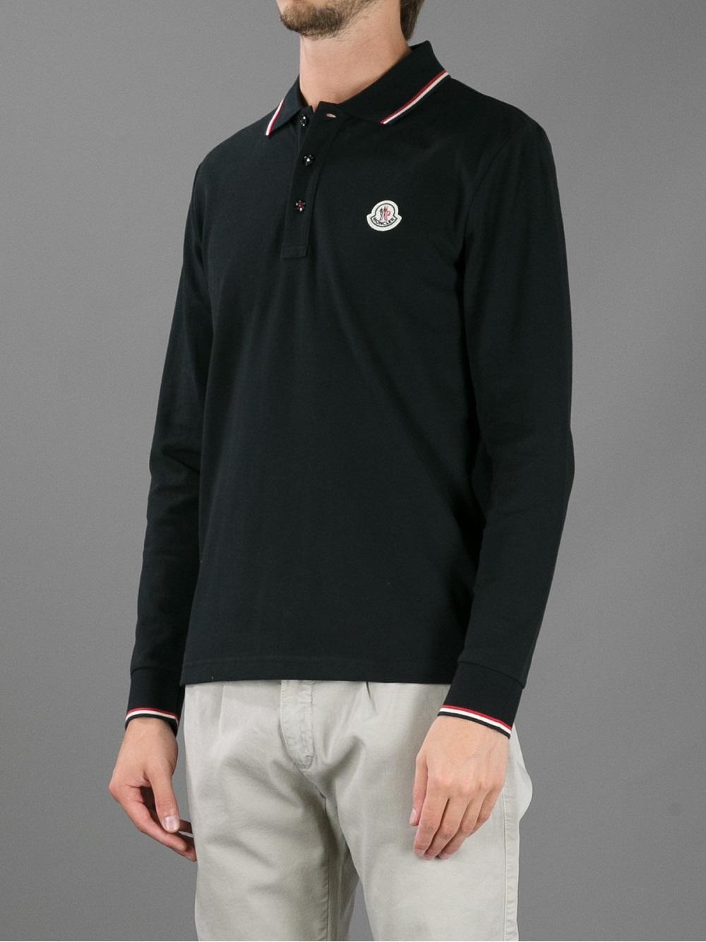 5222b59f Moncler Long Sleeve Polo Shirt in Black for Men - Lyst