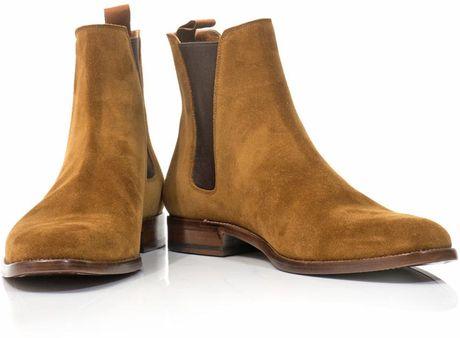 Saint Laurent Suede Chelsea Boots In Brown For Men Camel