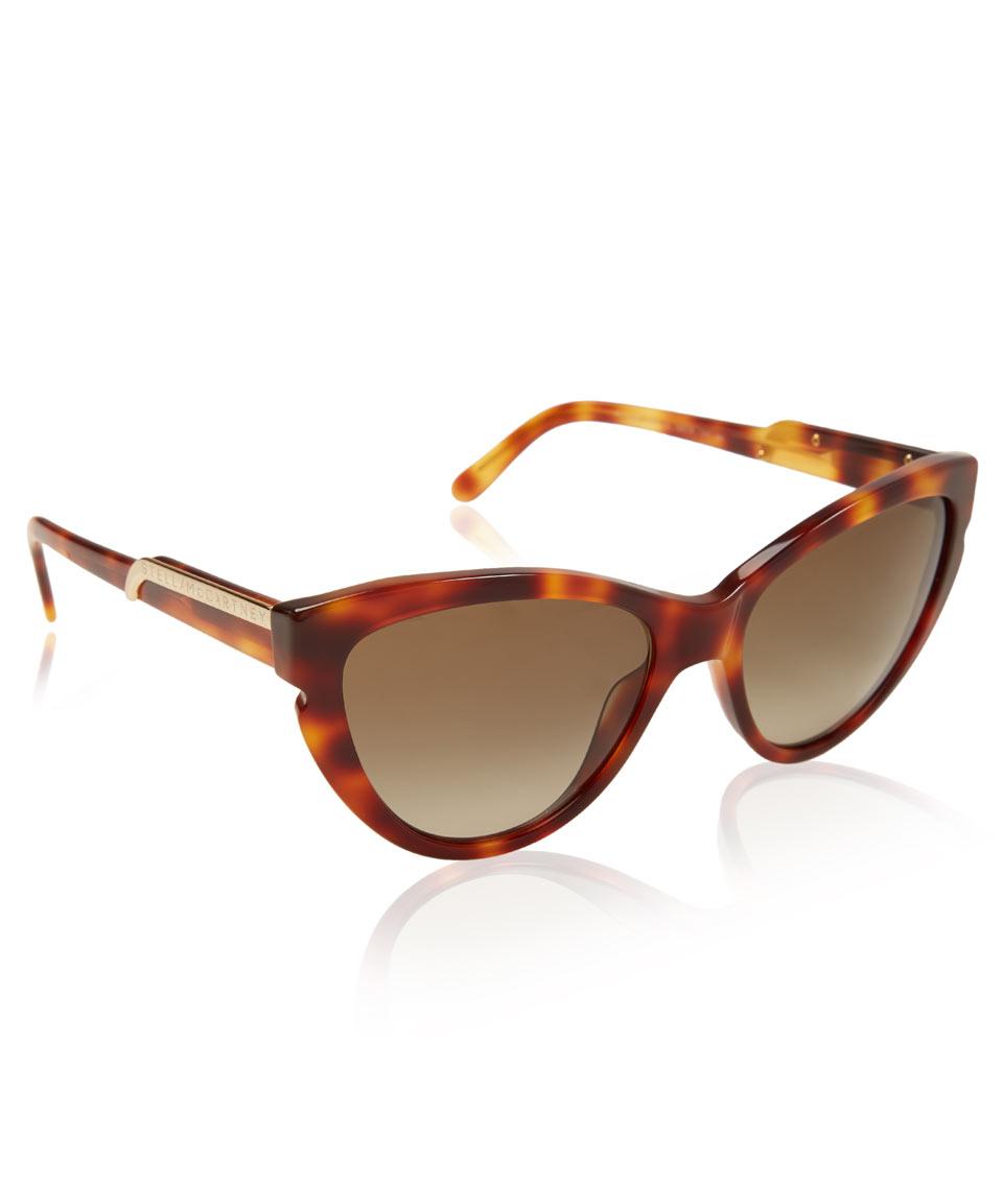 d9670b70eb3 Lyst - Stella McCartney Tortoiseshell Oversized Cat Eye Sunglasses ...