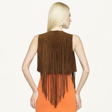 Ralph Lauren Black Label Suede Fringed Jolene Vest in Brown - Lyst