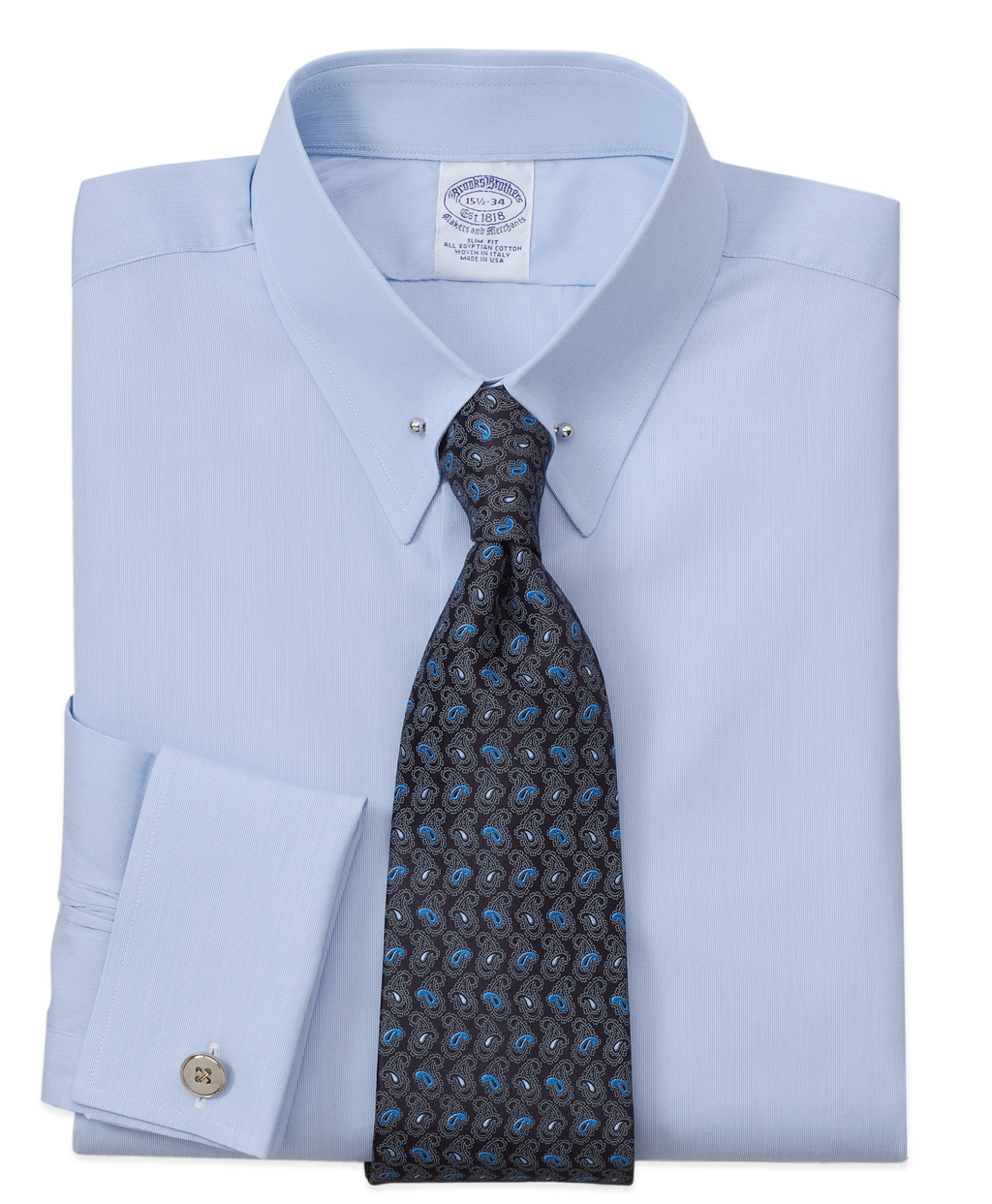 Brooks brothers regent fit hairline solid french cuff for Light blue french cuff dress shirt