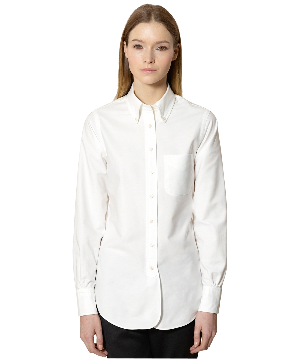 Brooks brothers oxford buttondown shirt in white lyst for Brooks brothers tall shirts