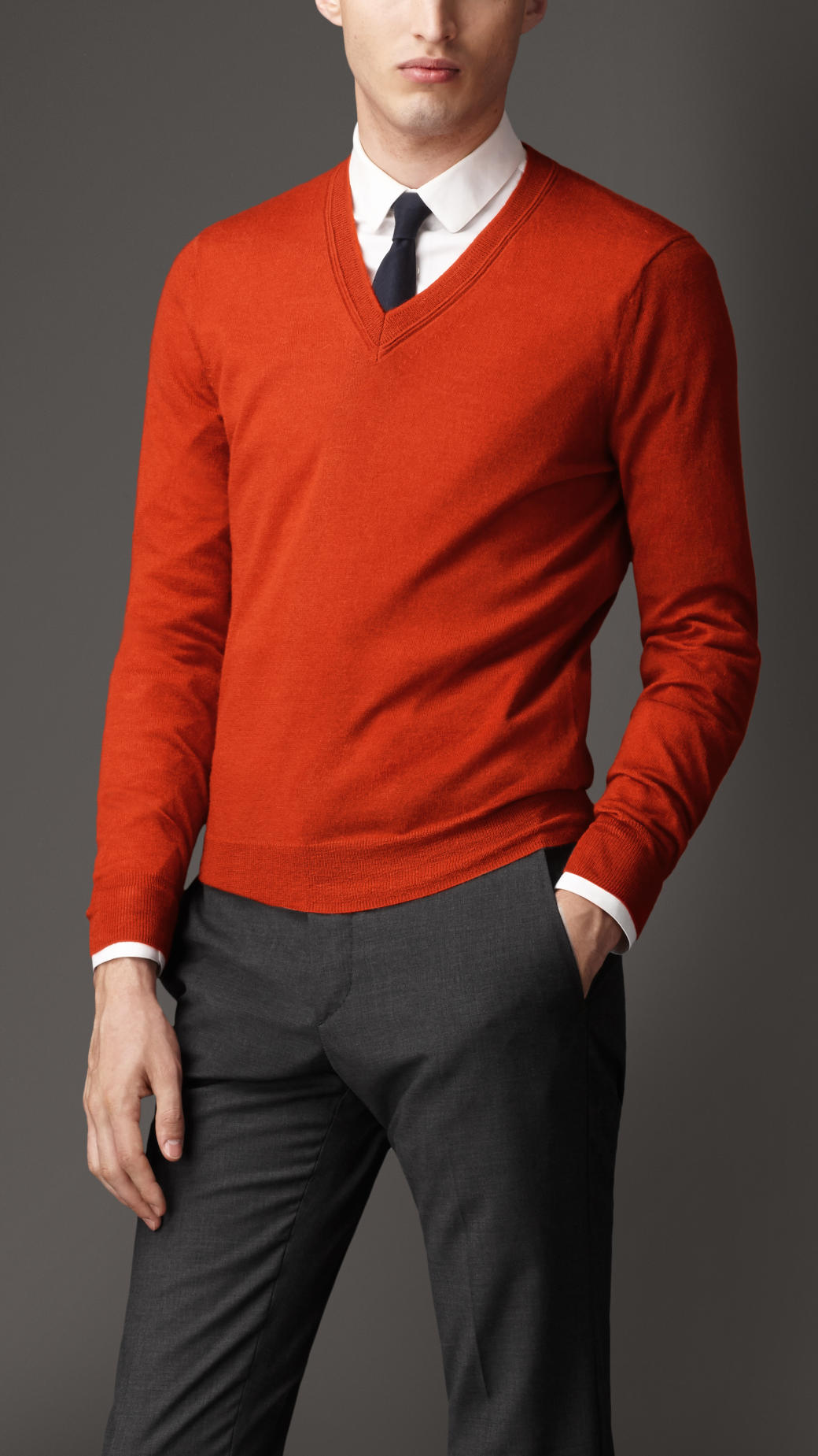 709e9952d2d Burberry Orange Vneck Cashmere Sweater for men