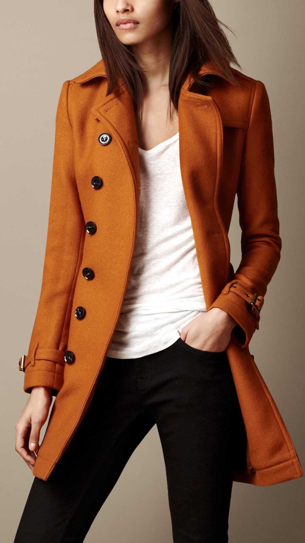 Burberry Mid Length Wool Blend Trench Coat In Orange Lyst