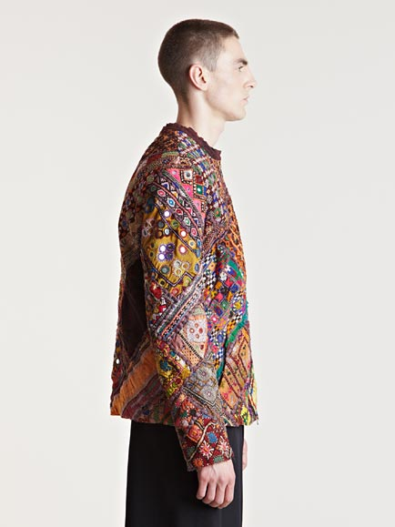 By Walid Mens Embroidered Mirror Jacket In Green Brown
