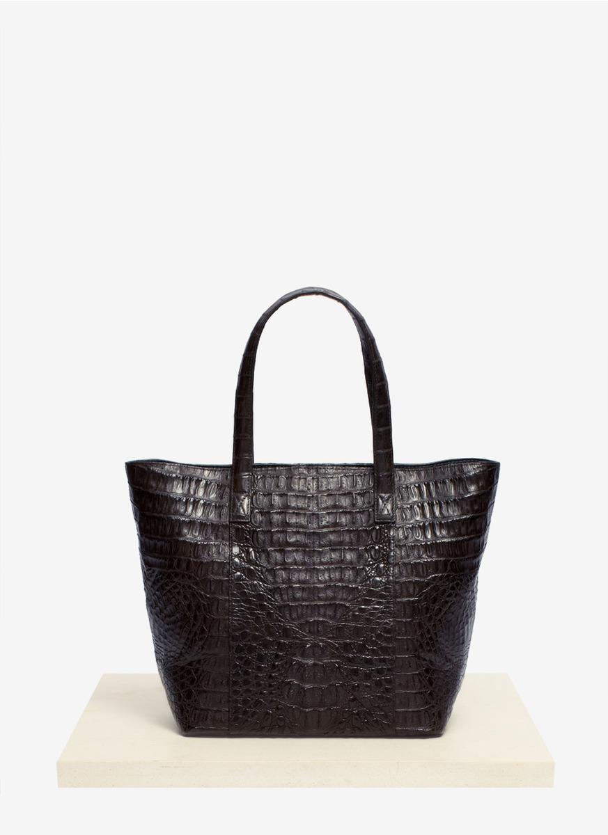 Celestina Black Perez Small Crocodile Leather Tote Bag Lyst