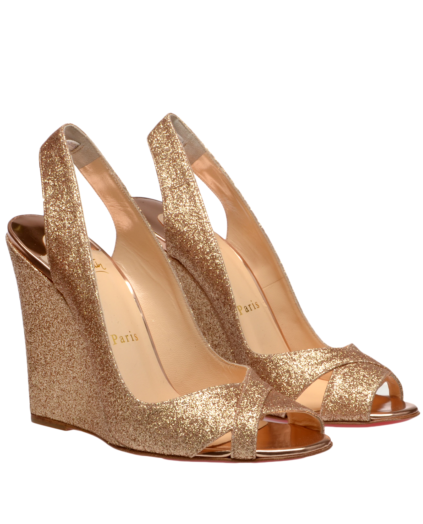 Christian Louboutin Maplesoft Bridal Shoes in Gold (white ...