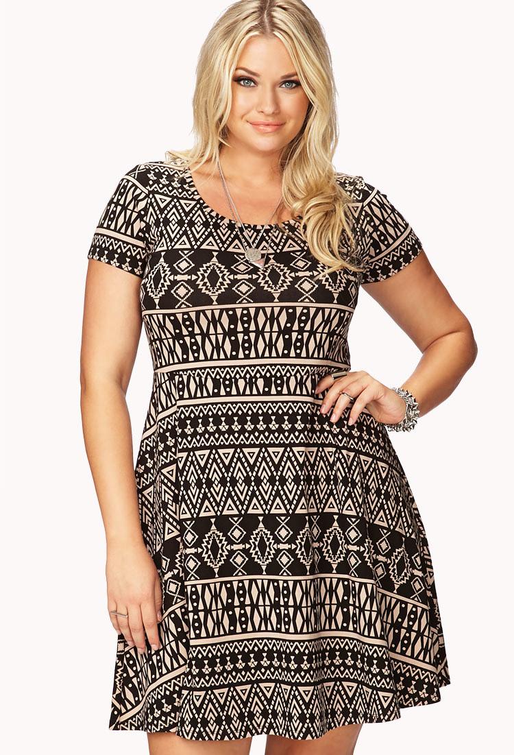 0630738b75b Forever 21 Tribal Print Skater Dress in Black - Lyst