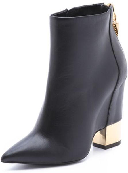 Giuseppe Zanotti Leather Booties With Gold Metal Heel In Black