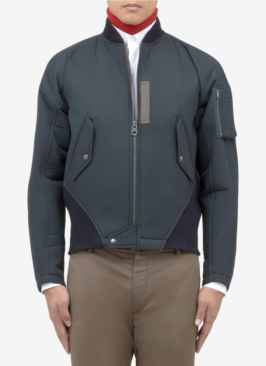 Kolor Neoprene Ma-1 Bomber Jacket in Green for Men | Lyst