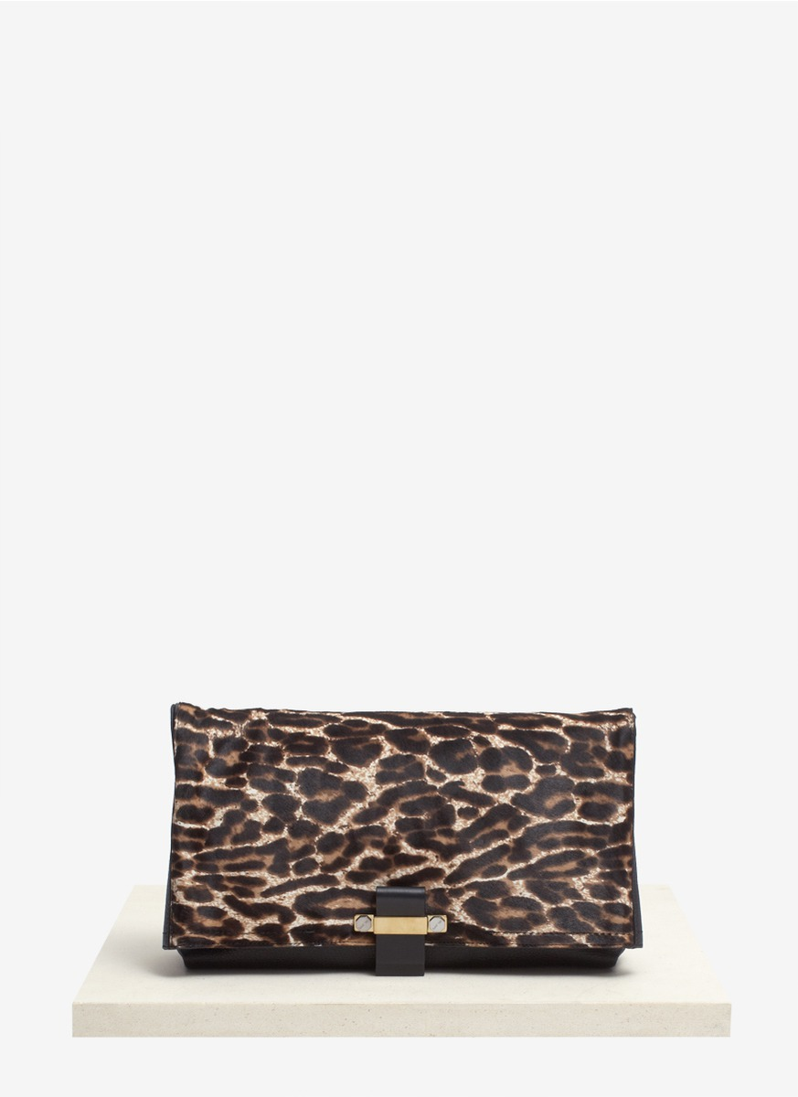 Lanvin Swag Leopard Pony Hair and Leather Clutch in Animal ...