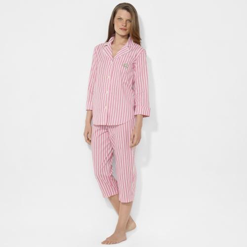 Lauren By Ralph Lauren Striped Capri Pajama Set In Pink Lyst