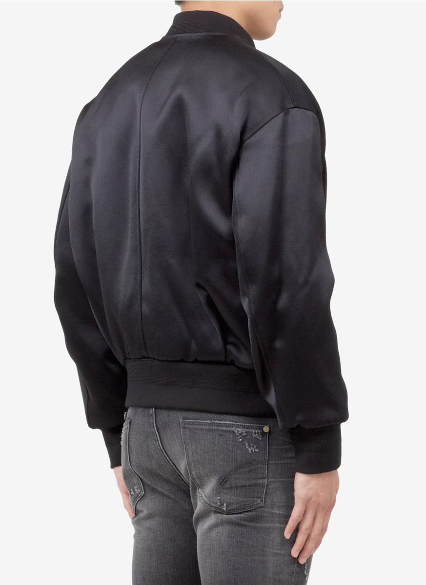 Neil Barrett Satin Bomber Jacket In Black For Men Lyst