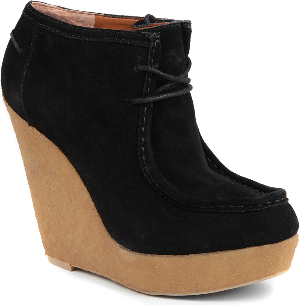 nine west lagui suede wedge boots in black lyst
