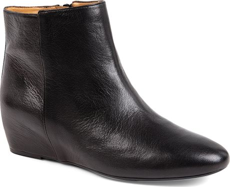 nine west metalina leather wedge ankle boots in black lyst