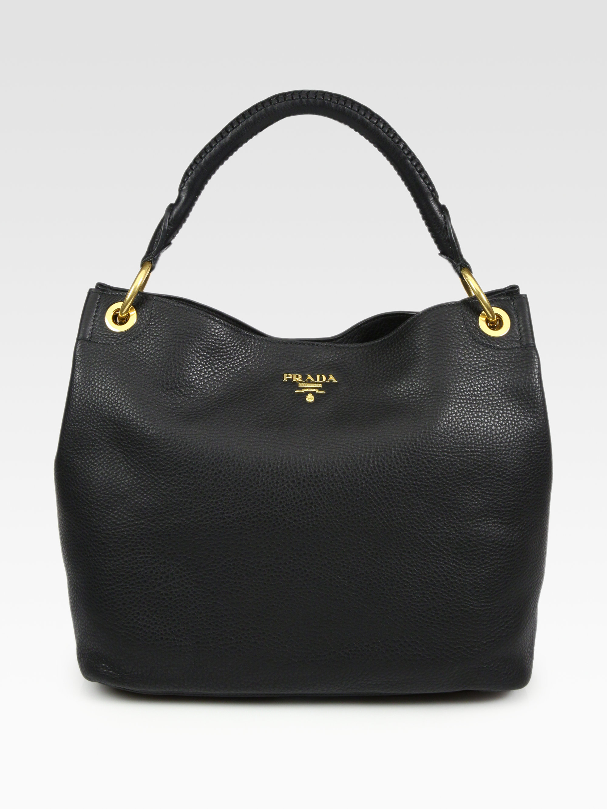 2e1f8f6955ab95 Prada Vitello Daino Hobo Bag in Black - Lyst