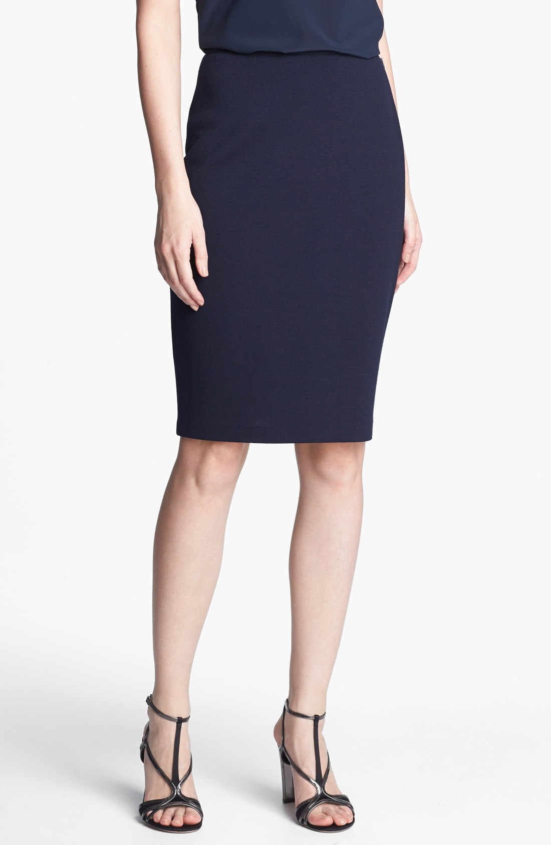 St. John Milano Knit Pencil Skirt in Blue (Navy) | Lyst