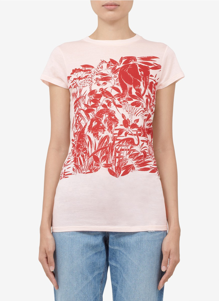 Lyst stella mccartney 39 elephant and leaves 39 printed for Stella mccartney t shirt