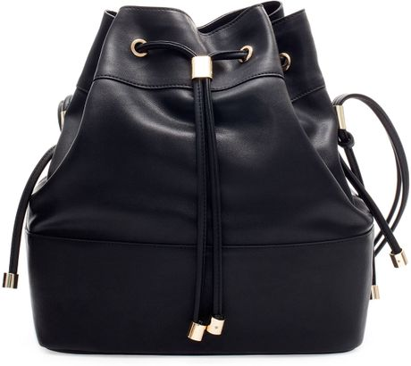 Zara Bucket Bag with Metal Detailing in Black