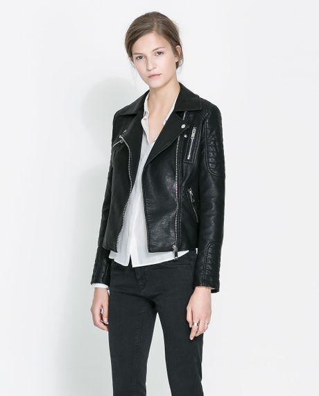 zara motorcycle jacket with zips in black lyst