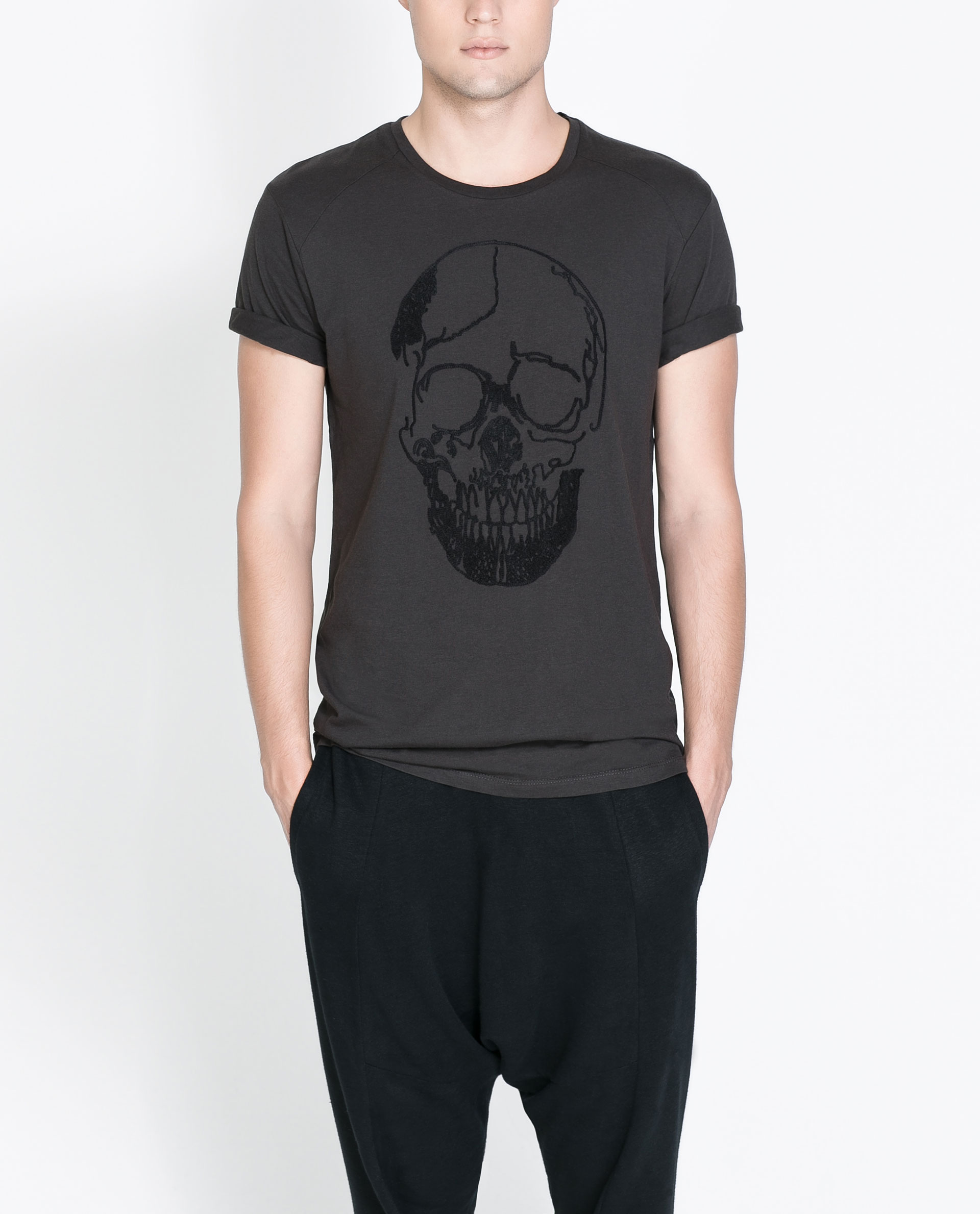 Zara tshirt with embroidered skull in gray for men lyst