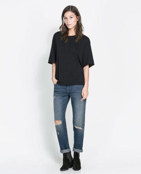 zara ripped boyfriend jeans in blue dark blue lyst. Black Bedroom Furniture Sets. Home Design Ideas