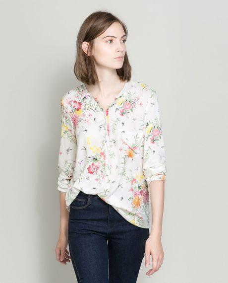 Zara floral print shirt in floral ecru lyst for Zara mens floral shirt
